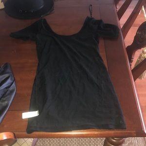 Black bodycon dress with scoop neck